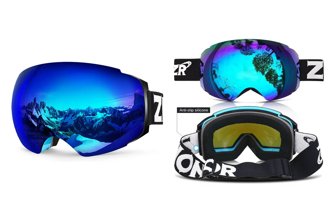 Zionor X4 Ski Snowboard Snow Goggles Magnet Dual Layers Lens Spherical Design Anti-fog UV Protection Anti-slip Strap