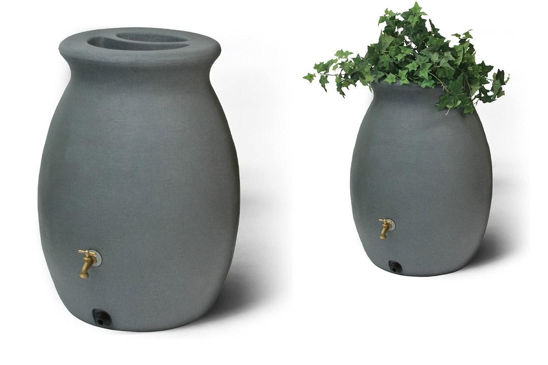 Algreen Products Castilla Rain Barrel 50-Gallon, Charcoal stone