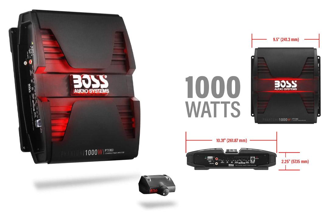 BOSS Audio PT1000 Phantom 1000 Watt, MOSFET Car Amplifier with Remote Subwoofer Control
