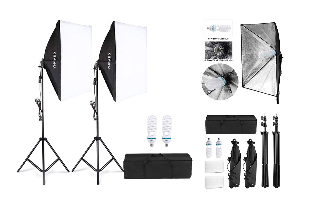 "CRAPHY 700W 5500K Photography Studio Soft Box Lighting Kit Continuous Light Equipment for Portrait Video Shooting (20x28"" Softbox + 80"" Tall Light Stand + Carrying Bag"