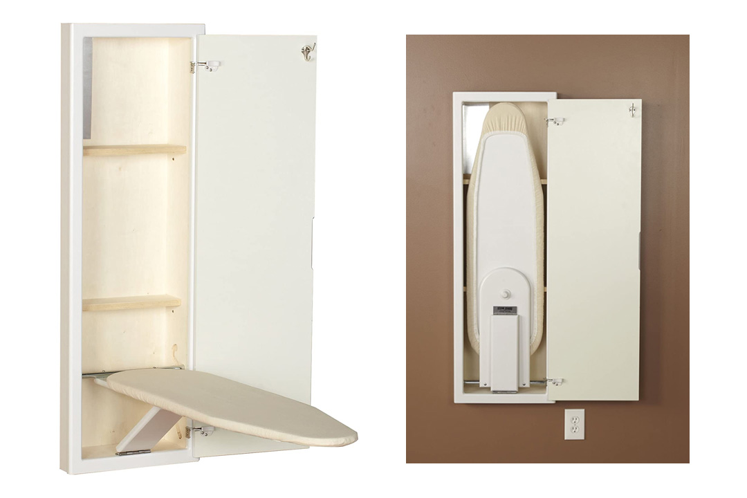 Household Essentials 18100-1 StowAway In-Wall Ironing Board Cabinet with Built In Ironing Board