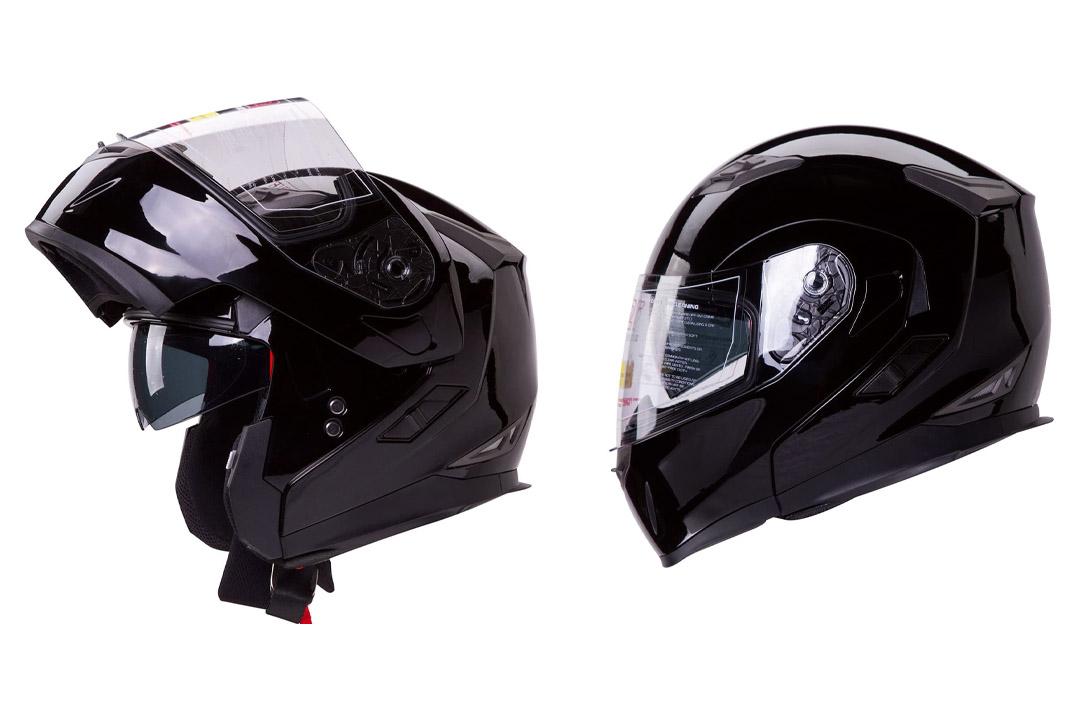 IV2 Model 953: Dual Visor Modular Flip up Gloss Black Motorcycle/Snowmobile Helmet DOT