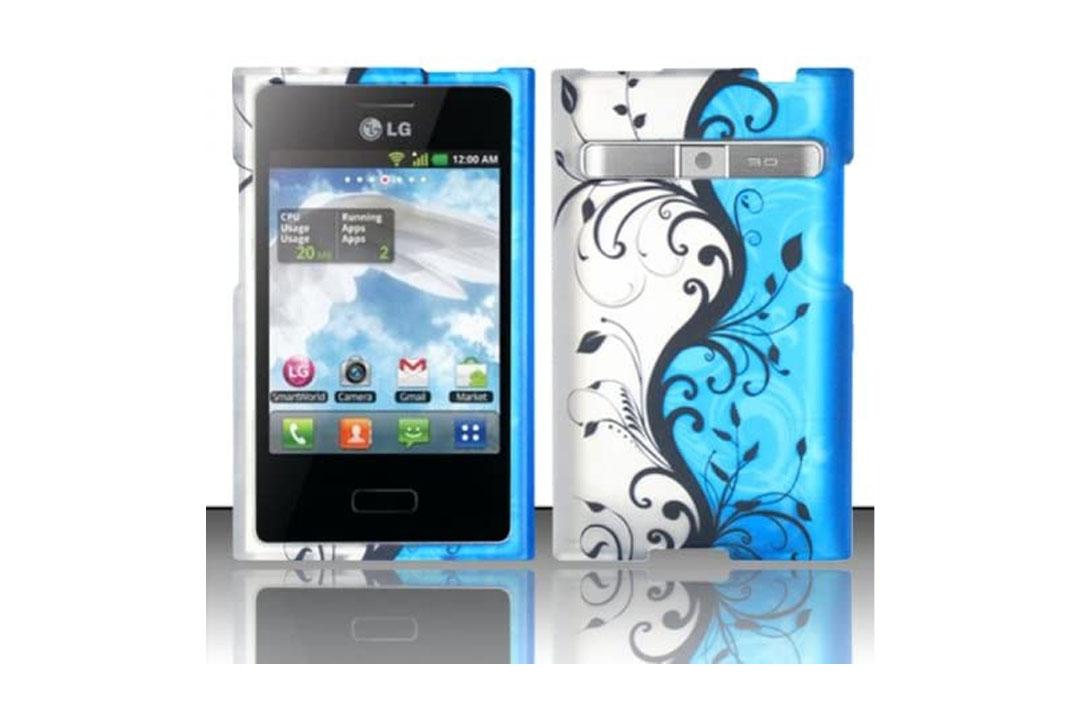 LG Optimus Logic L35g / Dynamic L38c (StraightTalk/Net 10) Rubberized Design Cover - Blue Vines