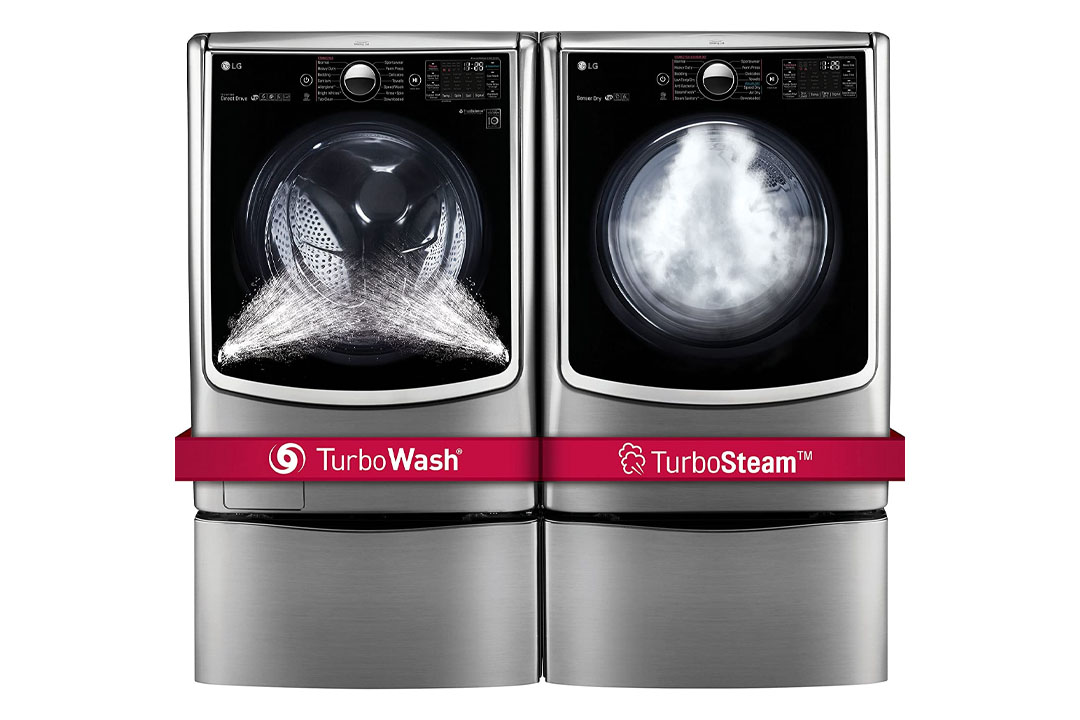 """LG POWER PAIR-Mega Capacity TurboWash Series 29"""" Front Load Laundry System with Steam TechnologyPLUS Matching Storage Pedestals"""