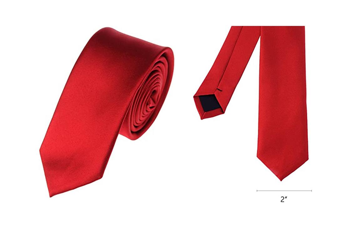 """Mens Solid Color 2"""" Skinny Tie"""
