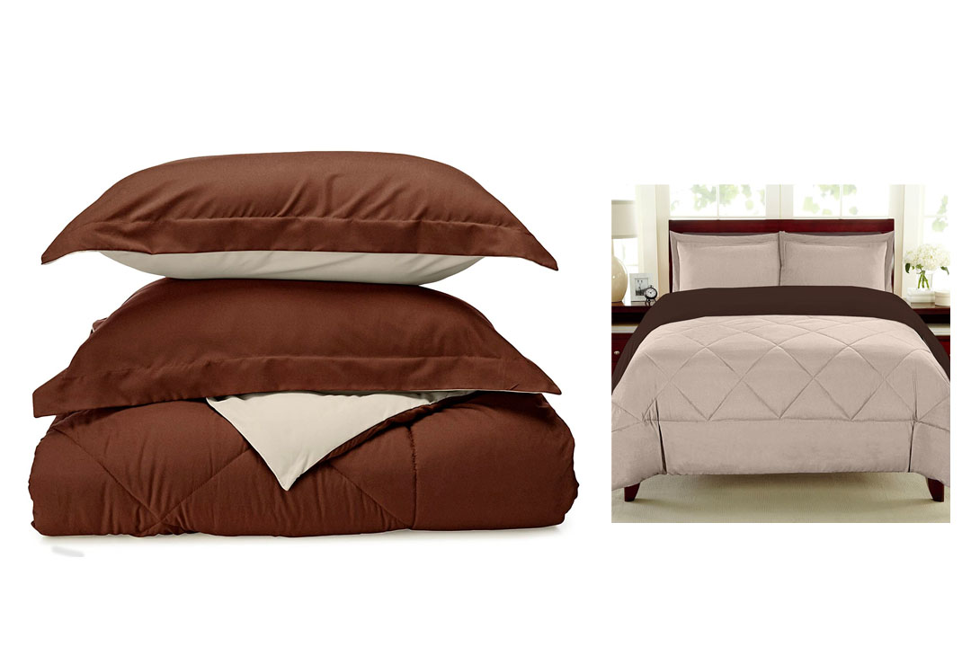 Sweet Home Collection 3 Piece Reversible Polyester Microfiber Goose Down Alternative Comforter Set