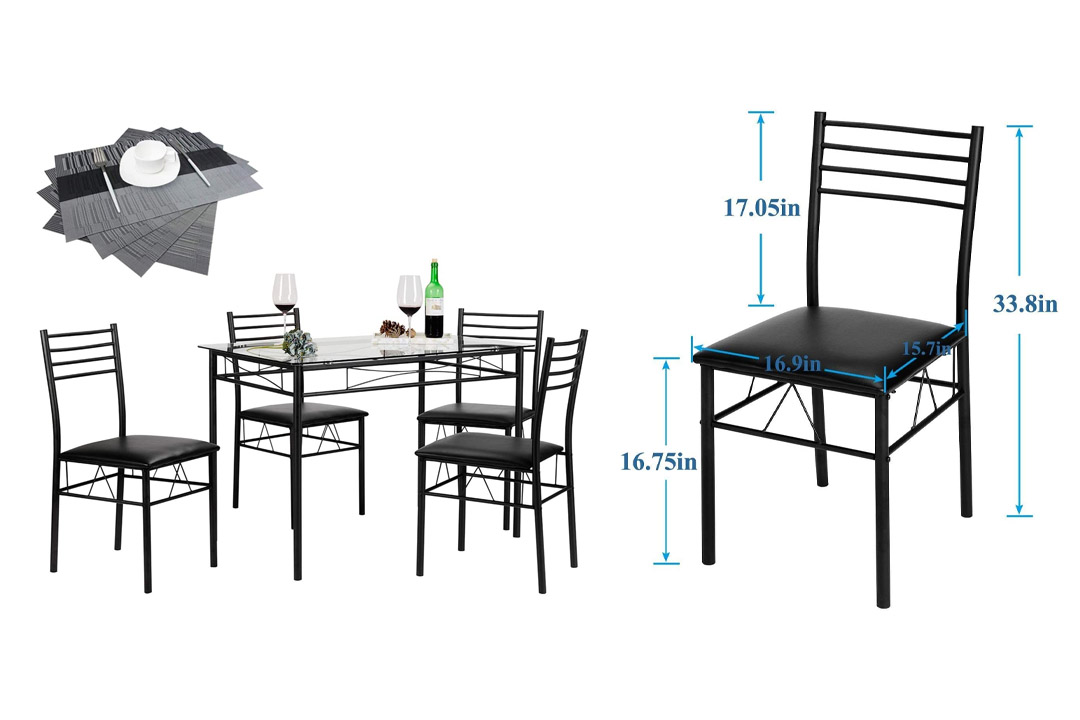 VECELO 5PC Glass Table and 4 Chair Sets Metal Kitchen Room Furniture