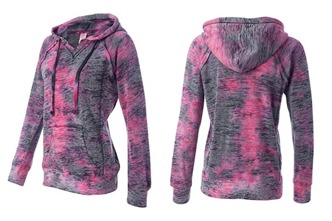 Weatherproof Women's' Courtney Burnout Hooded Pullover Blend Fleece (W1162)