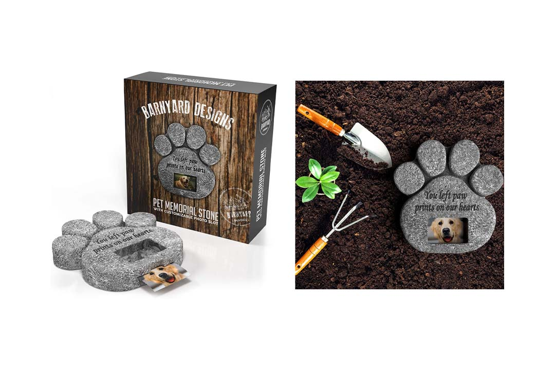 'You Left Paw Prints On Our Hearts' Paw Print Pet Memorial Stone with Customizable Photo Slot