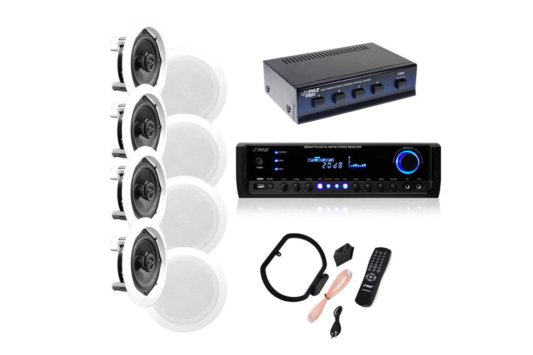 """4 Pairs of 150W 5.25"""" In-Wall / In-Ceiling Stereo White Speakers w/ 300W Digital Home Stereo Receiver"""