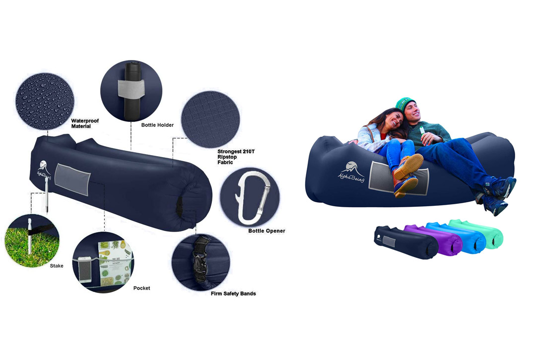 AlphaBeing Inflatable Lounger - Best Air Lounger for Travelling, Camping, Hiking