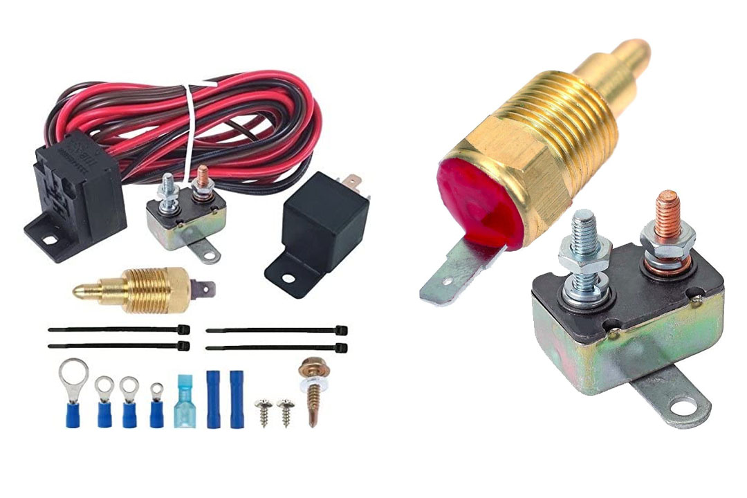"""American Volt 180'f Electric Fan Thermostat Wiring Install Kit 3/8"""" Npt Complete Relay Switch"""