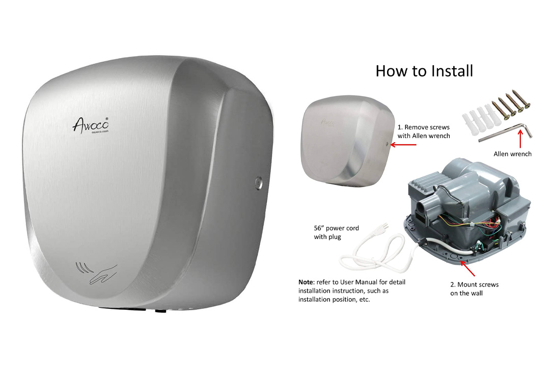 Awoco Stainless Steel Automatic High Speed Commercial Hand Dryer