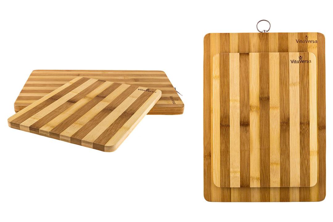 Beautiful Bamboo Wood Cutting Board & Serving Tray Set