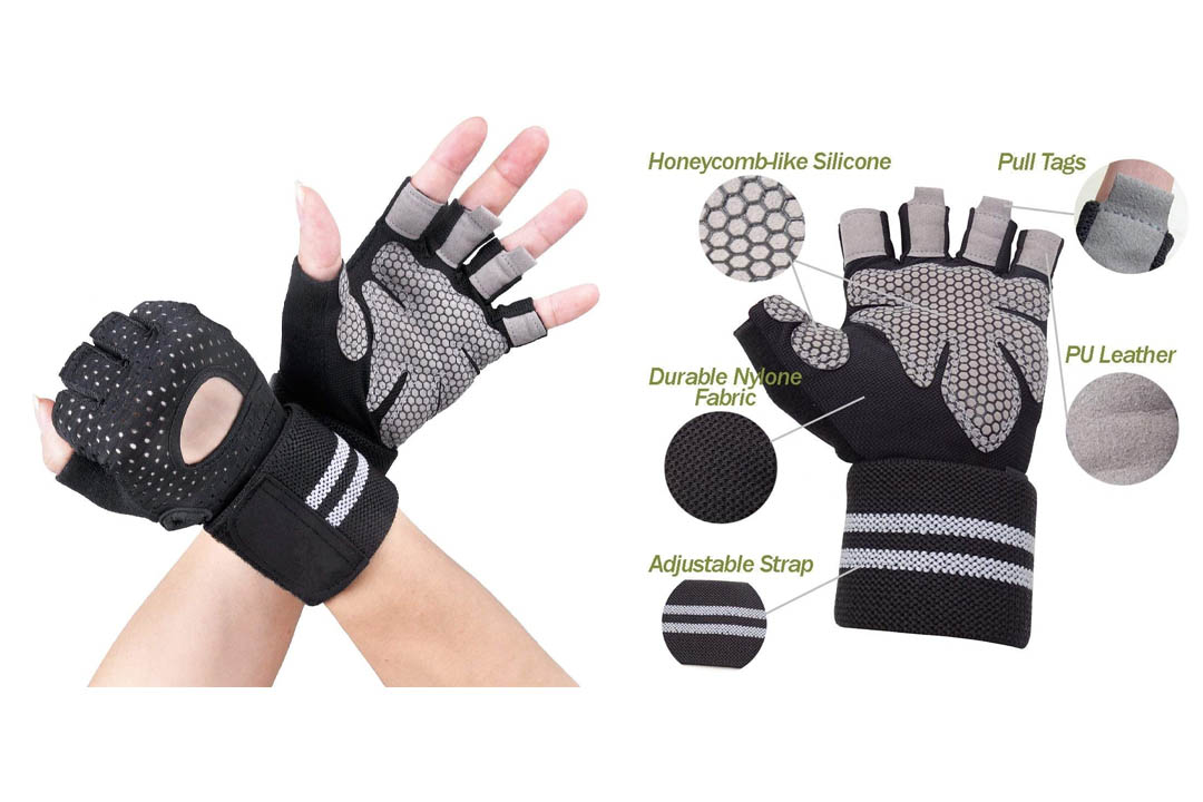 Breathable Ultralight Weight Lifting Sport Gloves, Gym Workout Exercise Gloves with Wrist Wrap Support