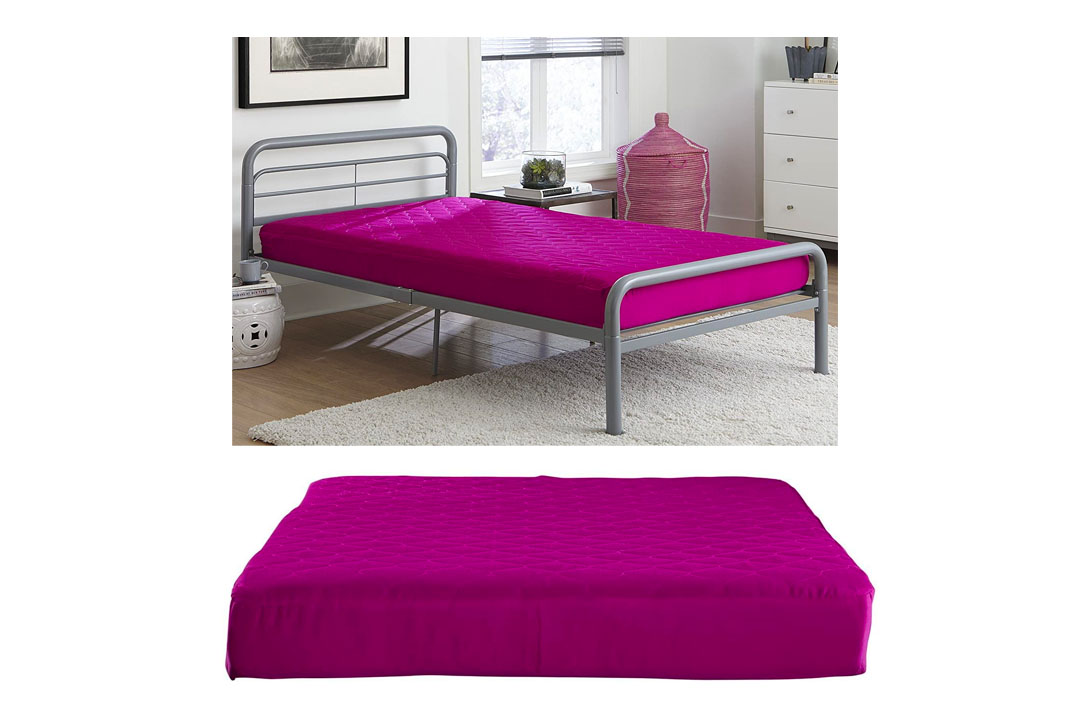 "DHP 6"" Quilted Top Bunk Bed Mattress, Twin, Pink"