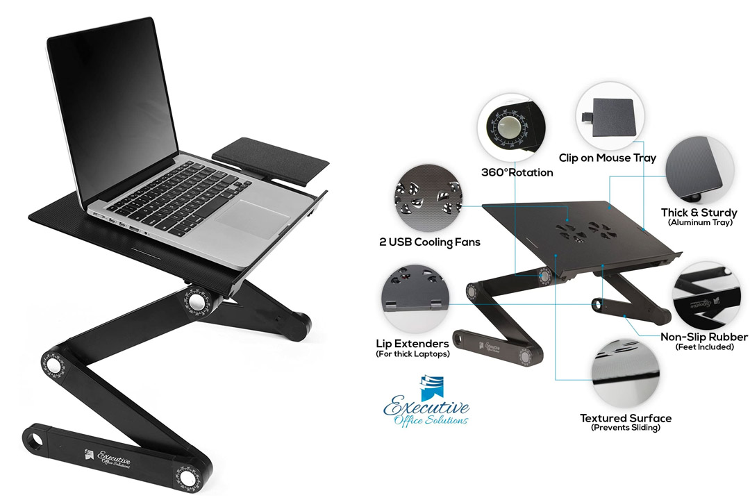 Executive Office Solutions Portable Adjustable Aluminum Laptop Desk/Stand/Table Vented