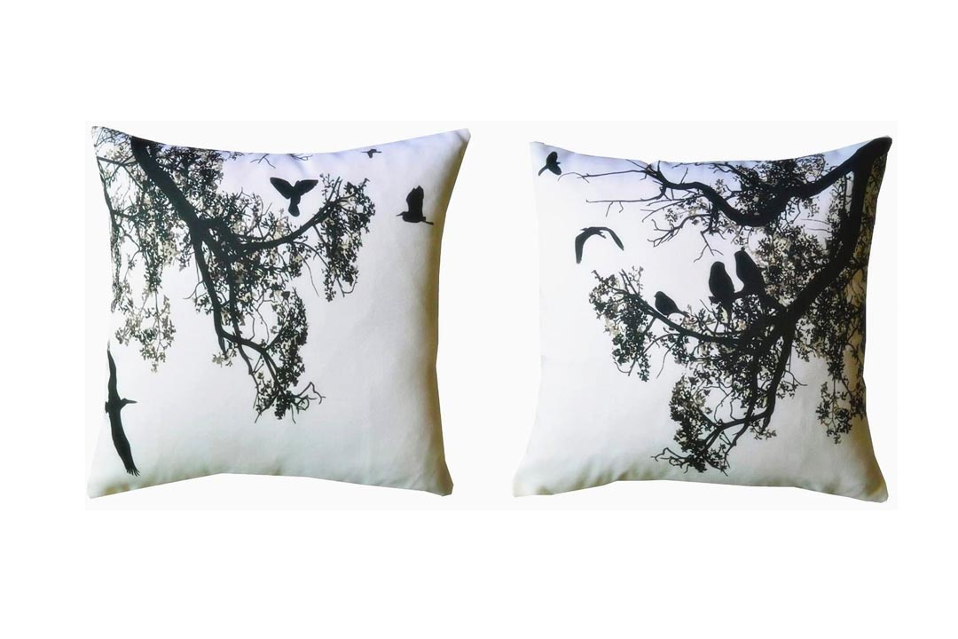"Howarmer® Canvas Square Decorative Throw Pillows Black and White Decorative Pillows Birds and Trees Set of 2 Case Only 18"" X 18"""