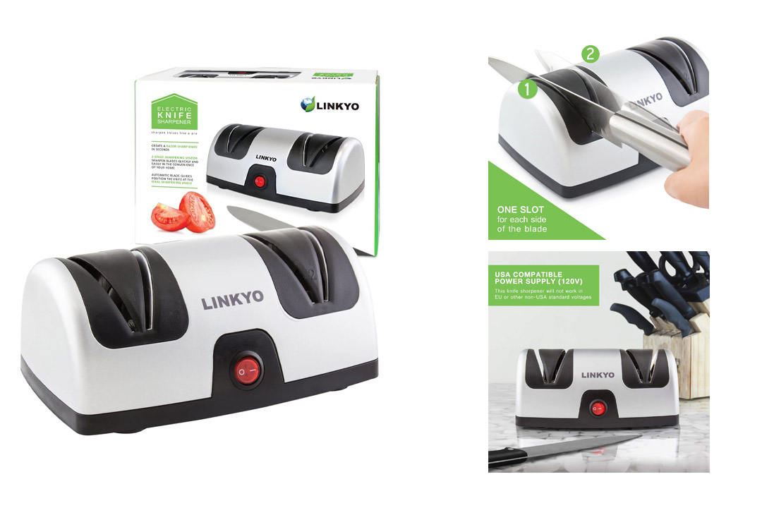 LINKYO Electric Knife Sharpener featuring Automatic Blade Positioning Guides