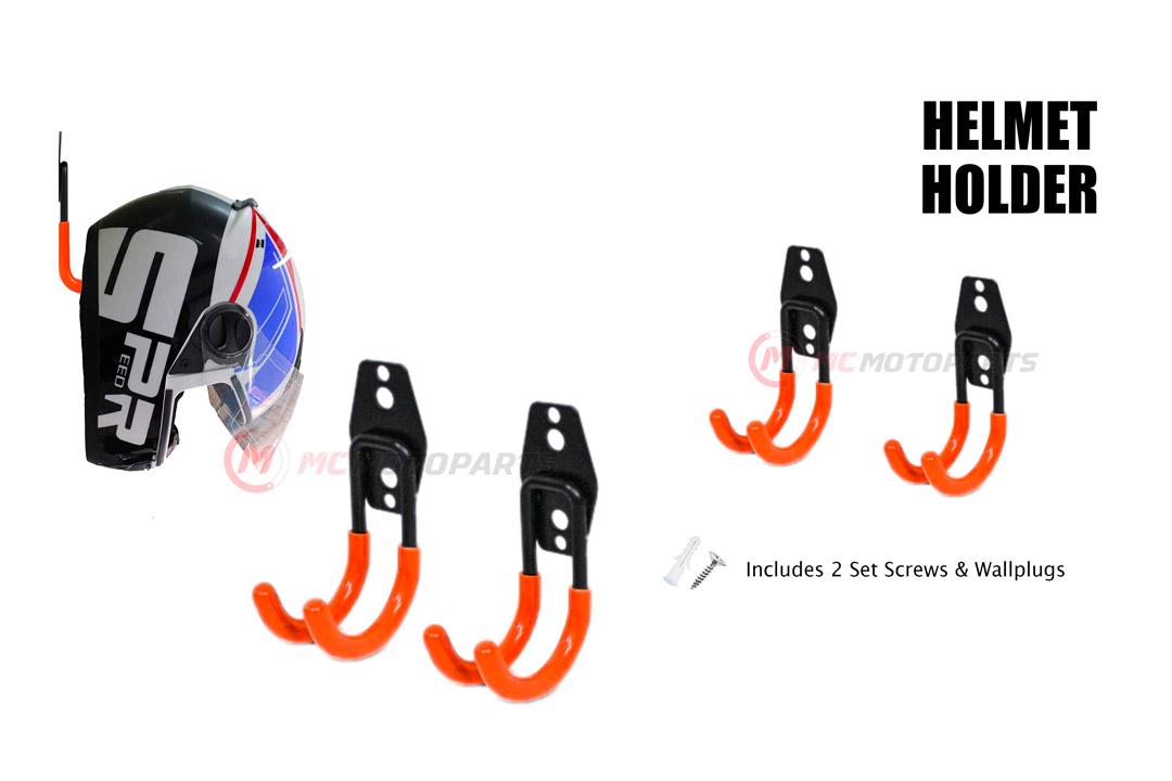 MC MOTOPARTS Orange Wall Mount Helmet Half Full Shield Helmet Hook Holder