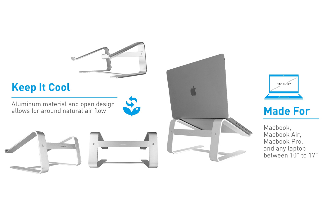 """Macally Aluminum Laptop Stand for Desk & for All Apple MacBook 12"""" / Pro / Air"""