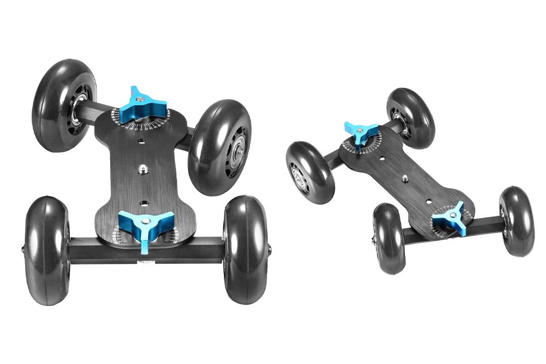 NEEWER Tabletop Mobile Rolling Slider Dolly Car Skater Video Track Rail for Speedlite DSLR Camera Camcorder Rig