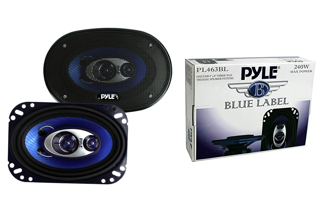 Pyle 4'' x 6'' Three-Way Sound Speaker System - Pro Mid Range Triaxial Loud Audio 240 Watt