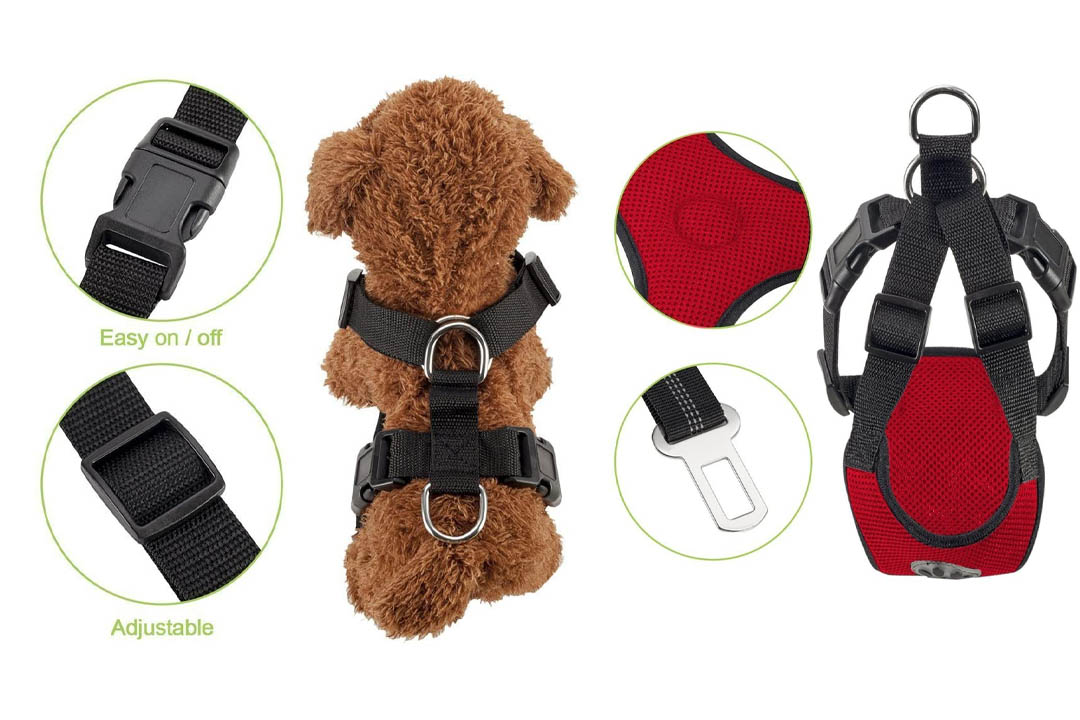 SlowTon Dog Car Harness Plus Connector Strap, Multifunction Adjustable Vest Harness