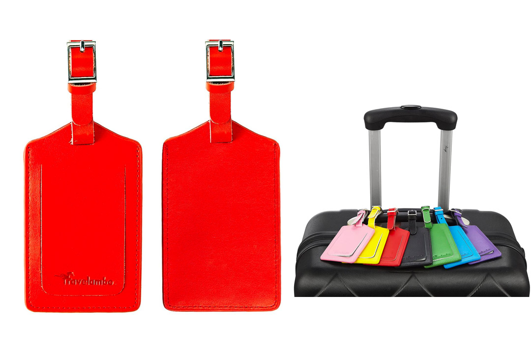 Travel ambo Genuine Leather Luggage Tags & Bag Tags 2 Pieces Set in 8 Colors