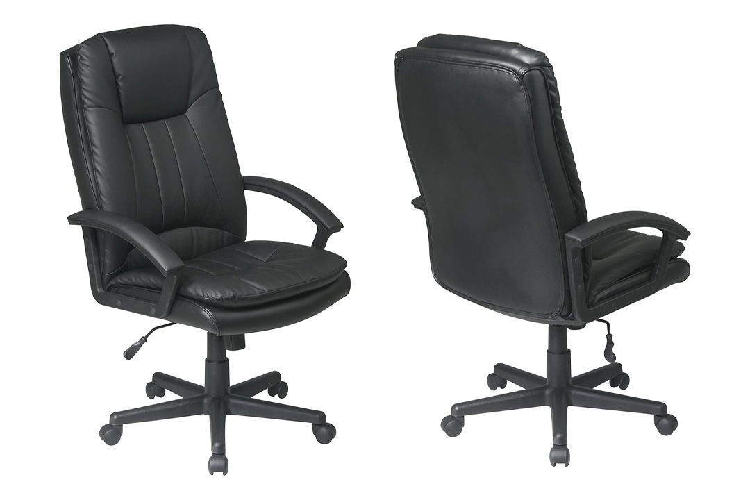 Work Smart Deluxe High Back Executive Eco Leather Chair, Black
