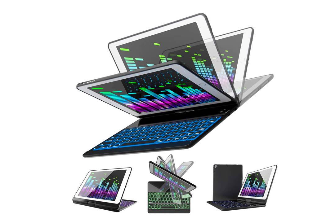 iPad Keyboard Case for iPad 2021 (6th Gen) - iPad 2017 (5th Gen) - iPad Pro 9.7 - iPad Air 2 & 1 - Thin & Light - 360 Rotatable - Wireless/BT - Backlit 7 Color - iPad Case with Keyboard (9.7, Black)
